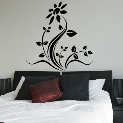 Decor Kafe Style Floral Self Adhesive Wall Decal Small Size-21*21 Inch Color - Black Wall Sticker Sticker (Pack Of 1)