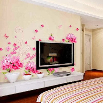 WoW Wall Stickers Pink Floral PVC Removable Sticker for Rs. 399 at Flipkart .com