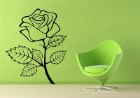 Decor Kafe Decal Style Rose Flower Ouline Wall Small Size-18*23 Inch Color - Black Vinyl Film Sticker (Pack Of 1)