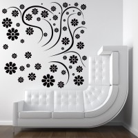 Decor Kafe Decal Style Rounded Flowers Art Small Size-20*20 Inch Wall Sticker Sticker (Pack Of 1)
