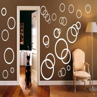 DeStudio Rings & Dots Color (White) Size (150cms X 60 Cms) Wall Sticker