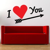 Decor Kafe Decal Style Love You Medium Size-25*12 Inch Vinyl Film Sticker (Pack Of 1)
