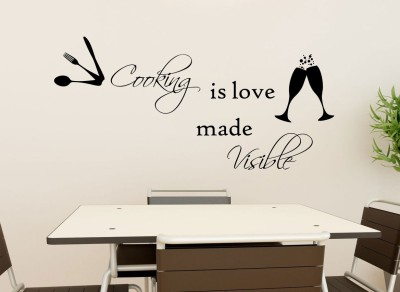 Decor Kafe Decal Style Cooking Is Visible Wall Art Large Size-33* 15 Inch Color - Black Wall Sticker (Pack Of 1)