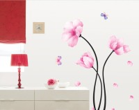 Oren Empower Pink Flower Pvc Removable Art Wall Sticker (100 Cm X Cm 85, Pink)