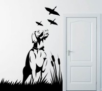 Decor Kafe Decal Style Dogs And Birds Art Small Size-16*22 Inch Wall Sticker Sticker (Pack Of 1)