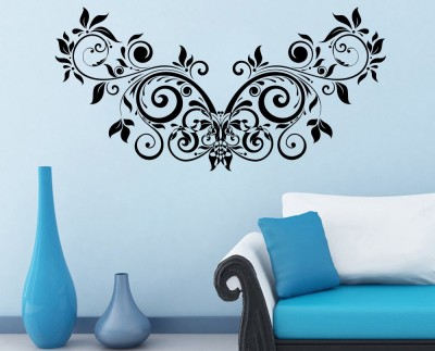 Decor Kafe Floral Creative Design Self Adhesive Wall Decal Medium Size-41*20 Inch Color - Black Wall Sticker Sticker (Pack Of 1)