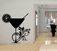 Decor Kafe Decal Style Wine Glass Wall Art Large Size- 22 *22 Inch Color - Black Wall Sticker (Pack Of 1)