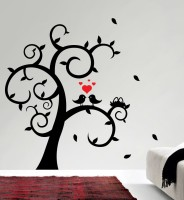 Decor Kafe Love Birds On Tree Self Adhesive Wall Decal Large Size-22*22 Inch Wall Sticker Sticker (Pack Of 1)