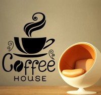 Decor Kafe Decal Style Coffee House Wall Art Large Size-19* 25 Inch Color - Black Wall Sticker (Pack Of 1)