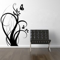 Decor Kafe Floral Branch With Butterflies Self Adhesive Wall Decal Large Size-30*47 Inch Wall Sticker Sticker (Pack Of 1)