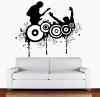Decor Kafe Boy Playing Guitar Self Adhesive Wall Decal Tiny Size-17*14 Inch Color - Black Wall Sticker Sticker (Pack Of 1)