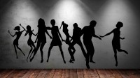 Decor Kafe Decal Style Dancing Peoples Tiny Size-24*10 Inch Color - Black Vinyl Film Sticker (Pack Of 1)