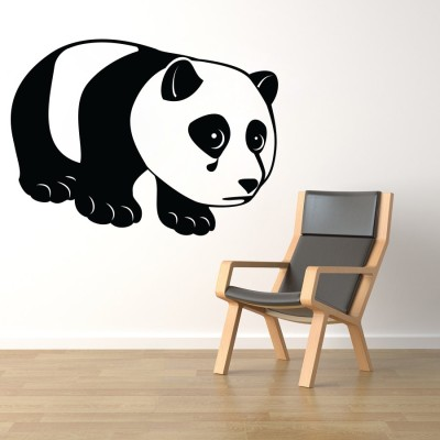 Decor Kafe Decal Style Sad Panda Wall Small Size-19*14 Inch Color - Black Vinyl Film Sticker (Pack Of 1)