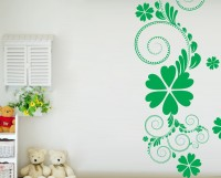 Decor Kafe Decal Style Green Flower Floral Art Large Size-25*53 Inch Wall Sticker Sticker (Pack Of 1)