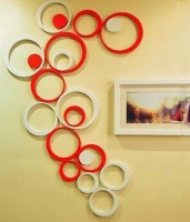 Wall Whispers 3D Geometric Red & White Circle Shape Acrylic Sticker (Pack Of 10)