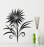 Decor Kafe Decal Style Sunflower Wall Medium Size-30*32 Inch Color - Black Vinyl Film Sticker (Pack Of 1)