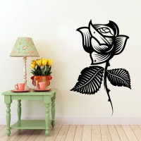 Decor Kafe Decal Style Rose Flower Large Size-29*47 Inch Color - Black Vinyl Film Sticker (Pack Of 1)