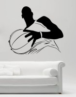 Decor Kafe Decal Style Men With Football Art Large Size-25*21 Inch Wall Sticker Sticker (Pack Of 1)