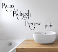Decor Kafe Relax Refresh Renew Wall Decal Large Size-28 X 20 Inch Black Vinyl Film Sticker (Pack Of 1)