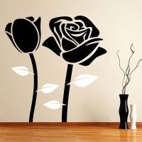 Decor Kafe Decal Style Black Rose Medium Size-29*30 Inch Vinyl Film Sticker (Pack Of 1)