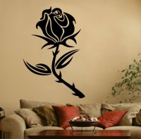 Decor Kafe Decal Style Rose Flower Medium Size-30*52 Inch Color - Black Vinyl Film Sticker (Pack Of 1)