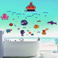 SYGA Boat And Sea Creatures Wall Pvc Vinyle Sticker (Pack Of 1)