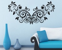 Decor Kafe Decal Style Floral Creative Design Medium Size-41*20 Inch Color - Black Vinyl Film Sticker (Pack Of 1)