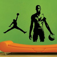 Decor Kafe Basketball Men Self Adhesive Wall Decal Large Size-44*31 Inch Wall Sticker Sticker (Pack Of 1)