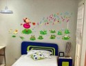 WOW Wall Sticker Singing Girl With Frog Wall PVC Removable Sticker