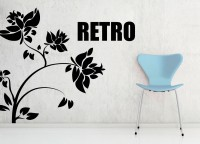 Decor Kafe Decal Style Retro Flower Art Small Size-24*21 Inch Wall Sticker Sticker (Pack Of 1)
