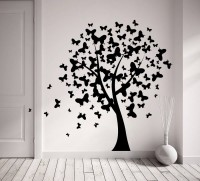Decor Kafe Butterfly On Tree Self Adhesive Wall Decal Large Size-39*36 Inch Wall Sticker Sticker (Pack Of 1)