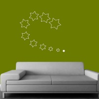 Wow Interiors White Stars Wall Sticker Large Acrylic Sticker (Pack Of 10)