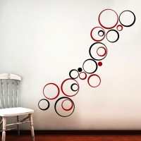 Wow Interiors Red And Black Circle Wall Sticker Large Acrylic Sticker (Pack Of 20)