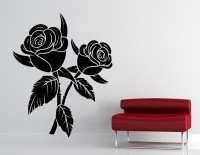 Decor Kafe Decal Style Black Rose Art Tiny Size-14*17 Inch Wall Sticker Sticker (Pack Of 1)