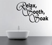 Decor Kafe Relax, Sooth And Soak Wall Decal Small Size-16 X 10 Inch Black Vinyl Film Sticker (Pack Of 1)
