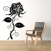 Décor Kafe Decal Style Rose Wall Tiny-12*19 Inch Color - Black Vinyl Film Sticker (Pack Of 1)