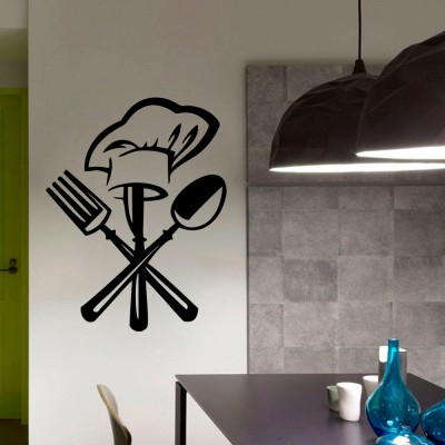 Decor Kafe Decal Style Cutlery Wall Art Small Size- 13* 18 Inch Color - Black Wall Sticker (Pack Of 1)