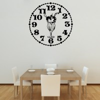 Decor Kafe Decal Style Knicker Bocker Glory Clock Wall Art Small Size-13* 13 Inch Color - Black Wall Sticker (Pack Of 1)