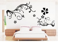 Oren Empower Beautiful Floral Background Pvc Art Wall Sticker (90 Cm X Cm 137, Black)