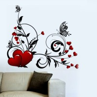Aquire Hearts With Floral Design 5727 PVC Vinyl Sticker (Pack Of 1)