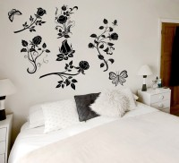 Decor Kafe Abstract Flowers Self Adhesive Wall Decal Large Size-42*33 Inch Wall Sticker Sticker (Pack Of 1)