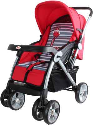 abdc kids Baby Stroller Pram with Reversible Handlebar Dual Brakes Wide Seat Built-in Shocker (Red, Grey)