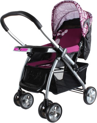 abdc kids Baby Pram Stroller With Reversible HandleBar European Styling (Pink)