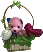 Atorakushon Bouquet Herat Soft Teddy Bear Love Valentine Couple Birthday Gift  - 18 Cm (Multi)