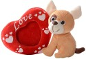 Dimpy Stuff Dog with Photo Frame  - 7.08 inch - Beige, Red