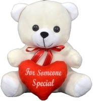 FunnyLand Teddy Bear With Heart White 20cm Caption For Someone Special  - 20 Cm (White)