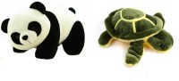 Tanisi Panda Soft Toy (26 Cm) And Green Turtle Combo  - 30 Cm (White, Black, Green)