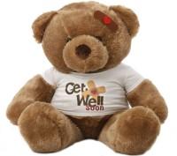 Grabadeal 2 Feet Big Teddy Bear Wearing A Get Well Soon T-Shirt - 24 Inch (Brown)