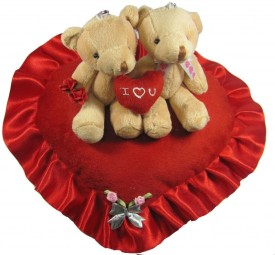 Tickles Valentine Couple in Love Teddy with Heart - 12 inch