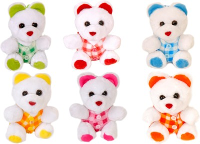 Lehar Toys Mini Teddy Set Of 6  - 12 Cm (Multicolour)